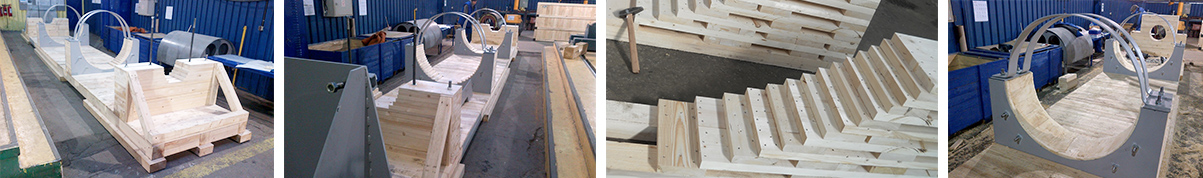 Wooden hollow saddles and transport saddles for export packaging