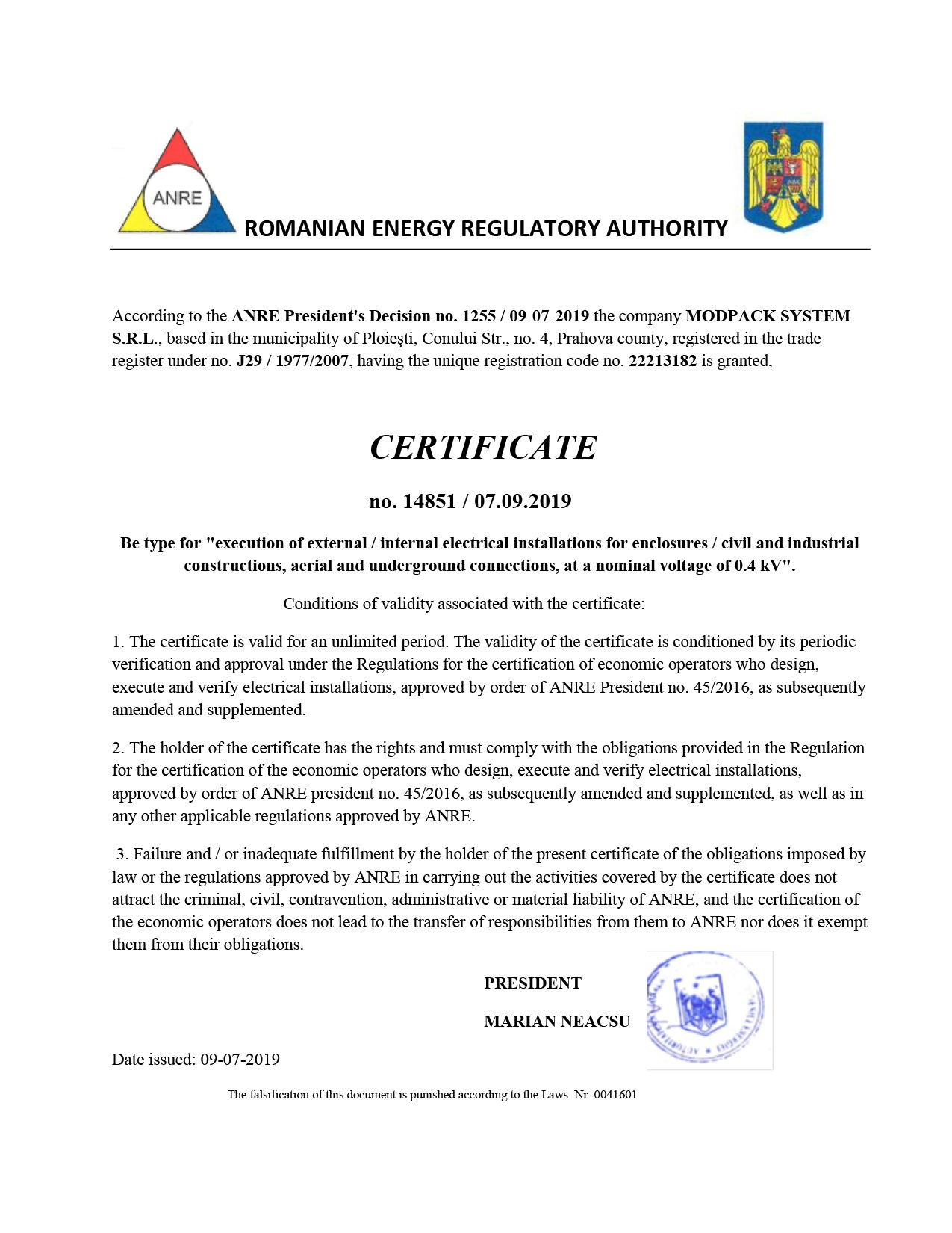 Certificate National Romanian Energy Regulatory Authority